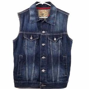 Bare Fox Jackets & Coats - Vintage Denim Vest Button-Up Sleeveless Darkwash